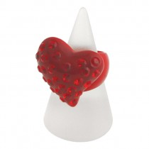 Twisted Heart Ring. Red (Large)