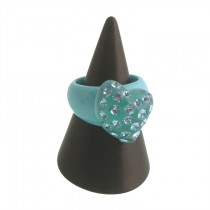 Twisted Heart Ring. Turquoise (small)