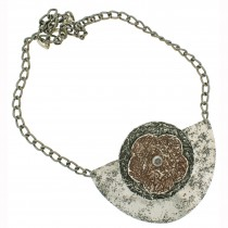 Flower Breastplate Necklace.  Brown
