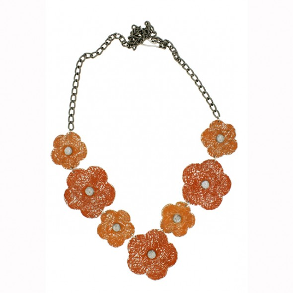 Flower Necklace. Orange