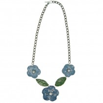 Flower & Leaf Necklace. Blue