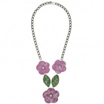Flower & Leaf Necklace. Pink