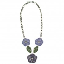 Flower & Leaf Necklace. Purple