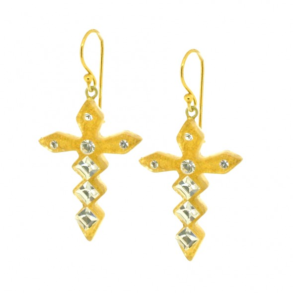 Jagged Crystal Cross Earrings.  GOLD