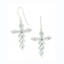 Jagged Crystal Cross Earrings. Silver
