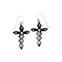 Jagged Crystal Cross Earrings.  Black