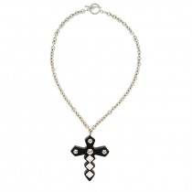 Jagged Crystal Cross Pendant.  Black