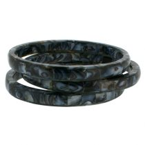 Thin Mother of Pearl Bangles. Mottled Grey