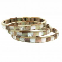 Thin Mother of Pearl Bangle. White / Amber