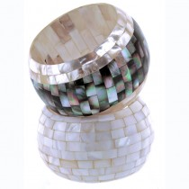 Wide Mother of Pearl Cuff. White & Grey