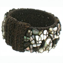 POSEIDON MOTHER OF PEARL ENCRUSTED MACRAME CUFF.