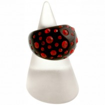 Domed Cocktail Ring. Black/Red