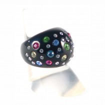 Domed Cocktail Ring. Black/Multi