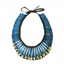 QUAZI Paper Bead Collar Necklace on Black Fabric.  Blue & Gold