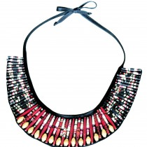 QUAZI Paper Bead Collar Necklace on Black Fabric.  Black & Gold