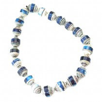 QUAZI Large paper bead necklace. Blue