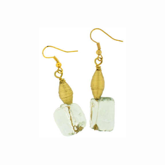QUAZI Glass cube & small gold paper bead on gold hook earring.