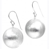 ZSISKA SILVER LEAF SMALL BALL ON HOOK EARRING