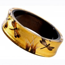 FRAGILE THIN BANGLE. 24kt GOLD/BROWN